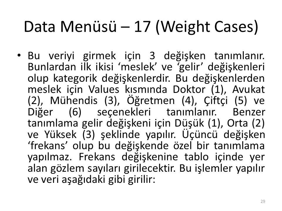 Data Menüsü – 17 (Weight Cases) Bu veriyi girmek için 3 değişken tanımlanır.