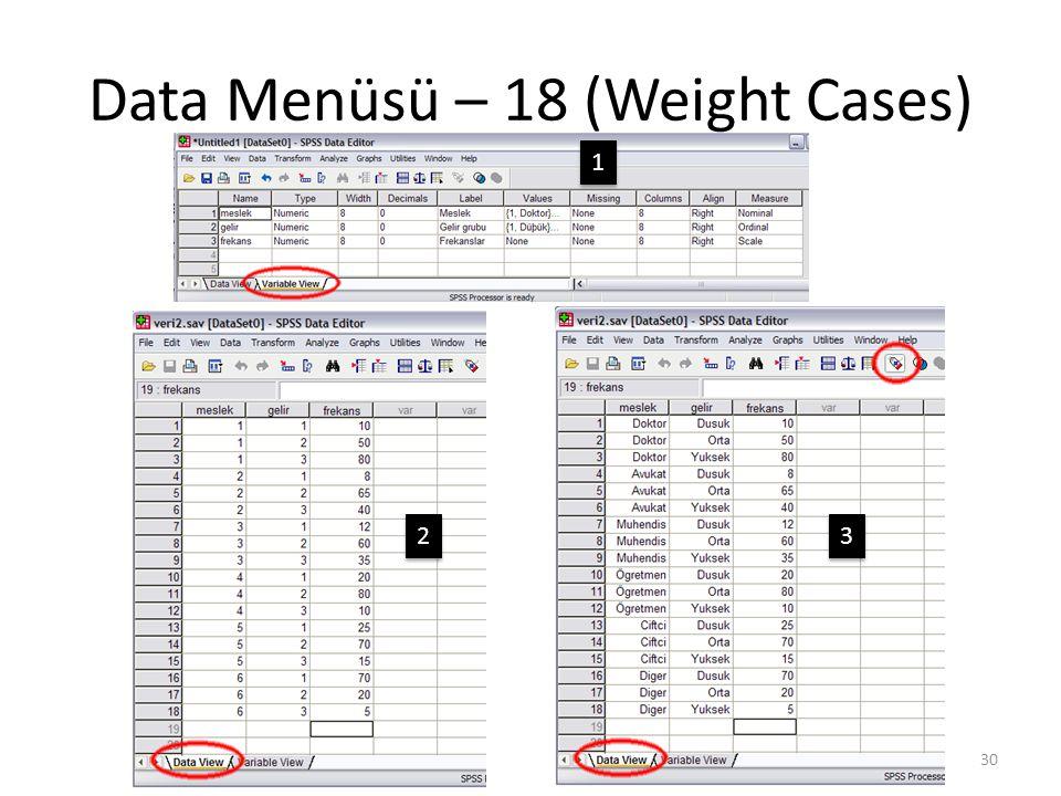 Data Menüsü – 18 (Weight Cases) 30 1 1 2 2 3 3