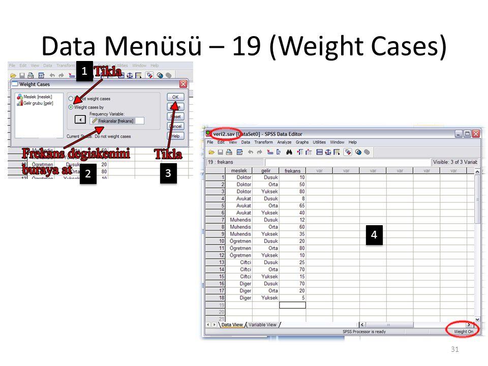 Data Menüsü – 19 (Weight Cases) 31 1 1 2 2 3 3 4 4
