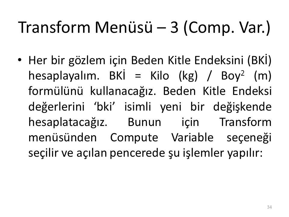 Transform Menüsü – 3 (Comp.Var.) Her bir gözlem için Beden Kitle Endeksini (BKİ) hesaplayalım.