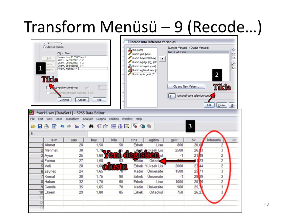 Transform Menüsü – 9 (Recode…) 40 1 1 2 2 3 3
