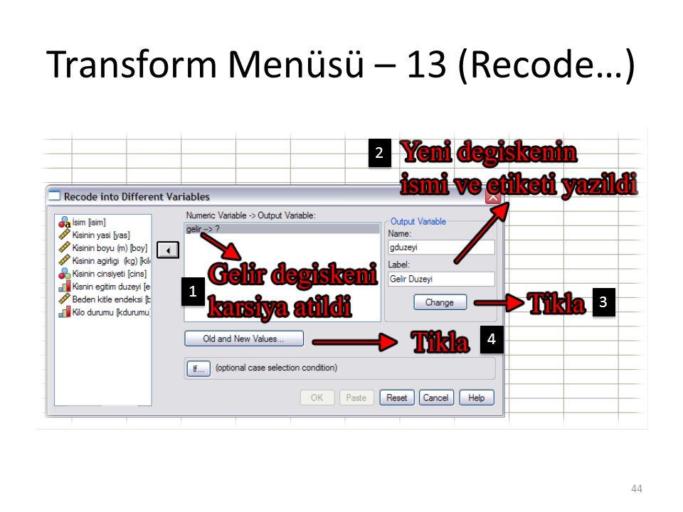 Transform Menüsü – 13 (Recode…) 44 1 1 2 2 3 3 4 4