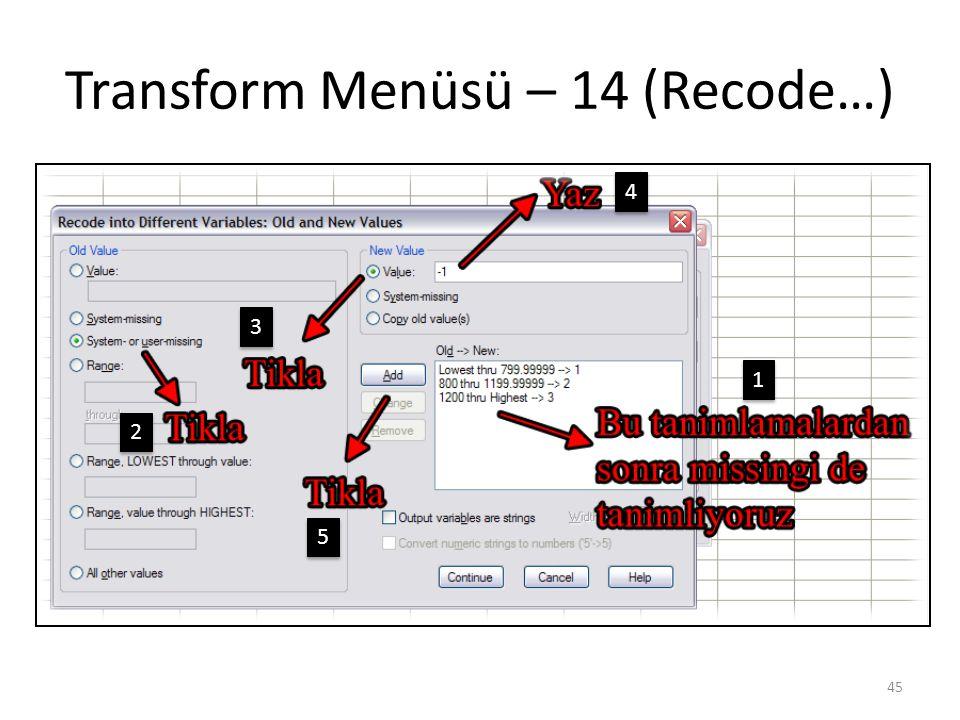 Transform Menüsü – 14 (Recode…) 45 1 1 2 2 3 3 4 4 5 5