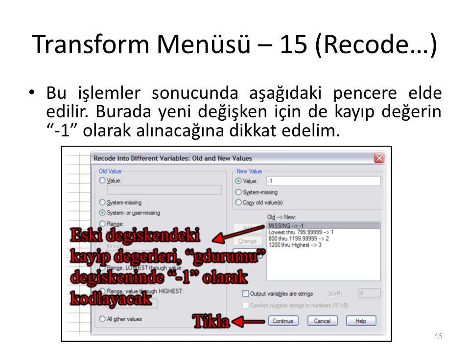 Transform Menüsü – 15 (Recode…) Bu işlemler sonucunda aşağıdaki pencere elde edilir.