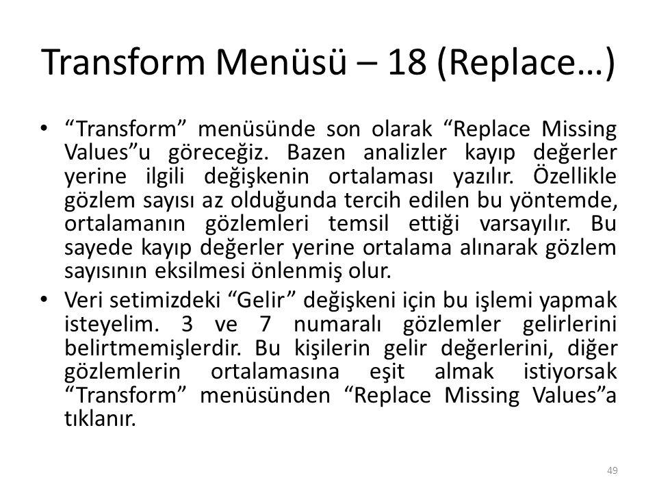 Transform Menüsü – 18 (Replace…) Transform menüsünde son olarak Replace Missing Values u göreceğiz.