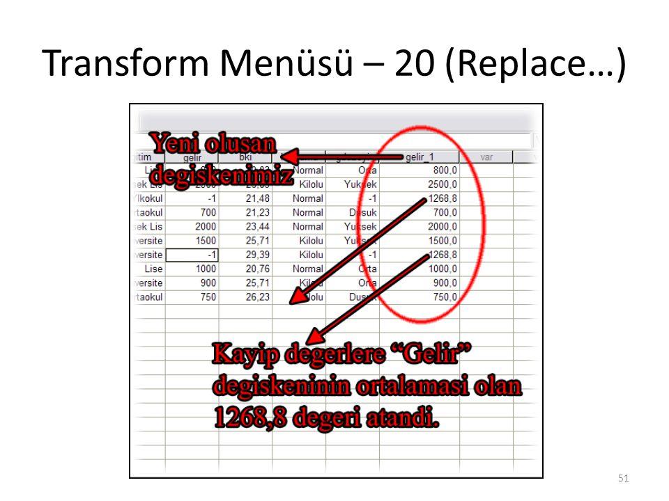 Transform Menüsü – 20 (Replace…) 51