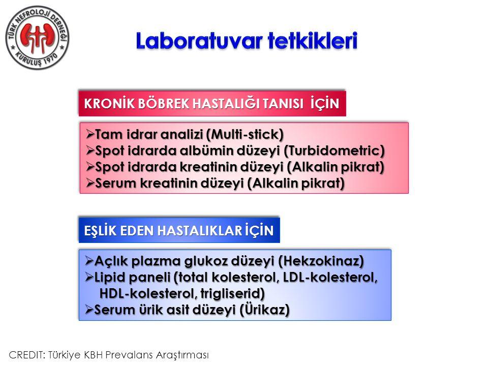  Açlık plazma glukoz düzeyi (Hekzokinaz)  Lipid paneli (total kolesterol, LDL-kolesterol, HDL-kolesterol, trigliserid) HDL-kolesterol, trigliserid)  Serum ürik asit düzeyi (Ürikaz)  Açlık plazma glukoz düzeyi (Hekzokinaz)  Lipid paneli (total kolesterol, LDL-kolesterol, HDL-kolesterol, trigliserid) HDL-kolesterol, trigliserid)  Serum ürik asit düzeyi (Ürikaz) KRONİK BÖBREK HASTALIĞI TANISI İÇİN  Tam idrar analizi (Multi-stick)  Spot idrarda albümin düzeyi (Turbidometric)  Spot idrarda kreatinin düzeyi (Alkalin pikrat)  Serum kreatinin düzeyi (Alkalin pikrat)  Tam idrar analizi (Multi-stick)  Spot idrarda albümin düzeyi (Turbidometric)  Spot idrarda kreatinin düzeyi (Alkalin pikrat)  Serum kreatinin düzeyi (Alkalin pikrat) EŞLİK EDEN HASTALIKLAR İÇİN CREDIT: Türkiye KBH Prevalans Araştırması