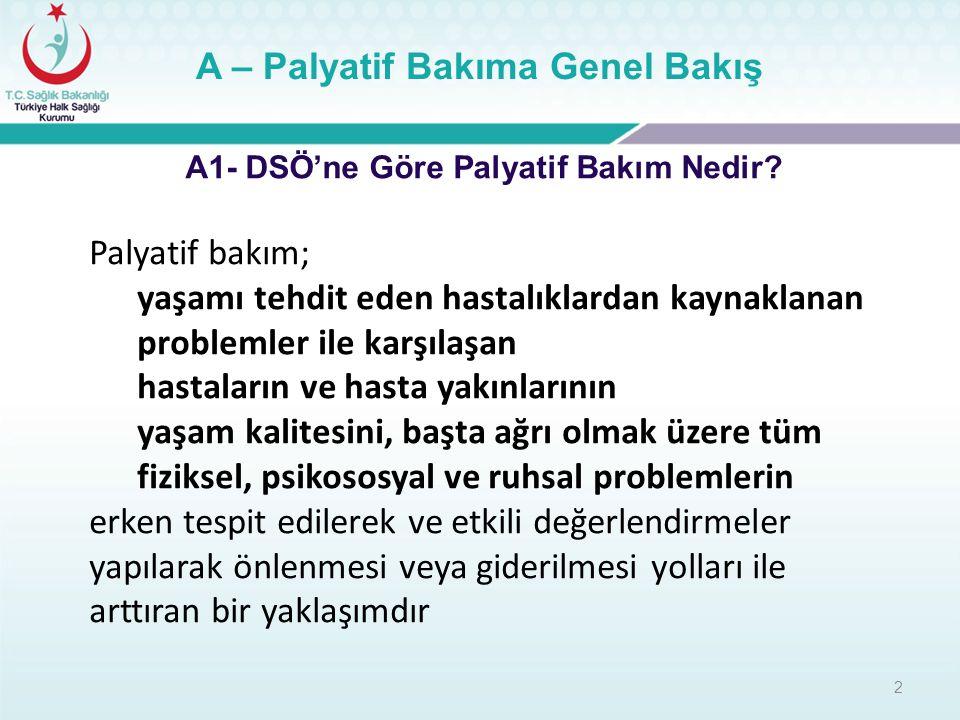 2 A – Palyatif Bakıma Genel Bakış A1- DSÖ'ne Göre Palyatif Bakım Nedir? Palyatif bakım; yaşamı tehdit eden hastalıklardan kaynaklanan problemler ile k