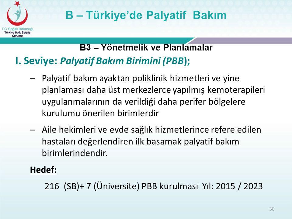 30 B3 – Yönetmelik ve Planlamalar B – Türkiye'de Palyatif Bakım I. Seviye: Palyatif Bakım Birimini (PBB); – Palyatif bakım ayaktan poliklinik hizmetle