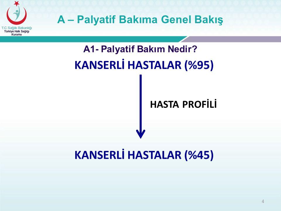 B – Türkiye'de Palyatif Bakım Türkiye'de aktif çalışan 20 PBM 6 üniversite, 13 Devlet hastanesi,1 özel merkez Gaziantep'te 2 Devlet Hastanesi müracat aşamasında Devlet hastanelerimizden 3 fiziki düzenleme,6 tefrişat, 1 tanesi personel alımı düzeyinde