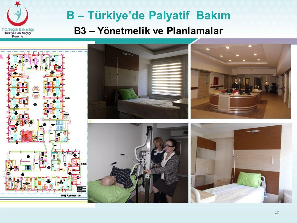 40 B3 – Yönetmelik ve Planlamalar B – Türkiye'de Palyatif Bakım