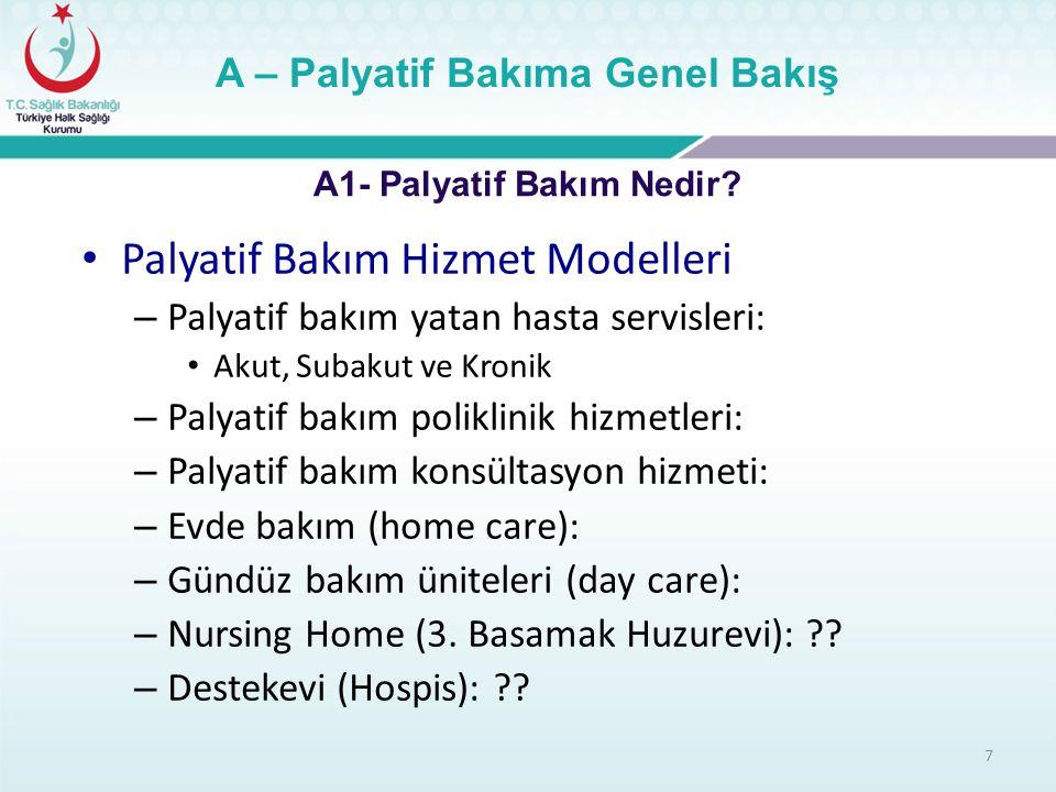 Palyatif Bakım Hizmet Modelleri – Palyatif bakım yatan hasta servisleri: Akut, Subakut ve Kronik – Palyatif bakım poliklinik hizmetleri: – Palyatif ba