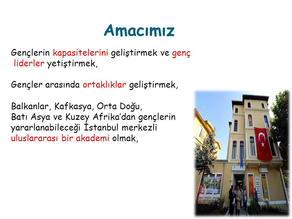 Amacımız Gençlerin kapasitelerini geliştirmek ve genç liderler yetiştirmek, Gençler arasında ortaklıklar geliştirmek, Balkanlar, Kafkasya, Orta Doğu, Batı Asya ve Kuzey Afrika'dan gençlerin yararlanabileceği İstanbul merkezli uluslararası bir akademi olmak,