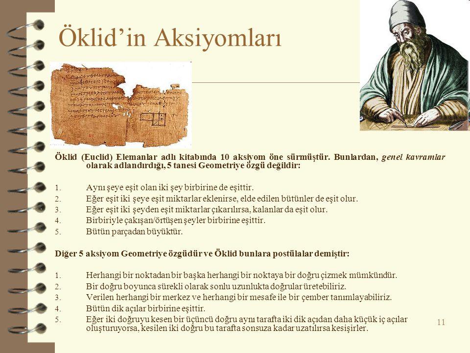 11 Öklid'in Aksiyomları Öklid (Euclid) Elemanlar adlı kitabında 10 aksiyom öne sürmüştür.