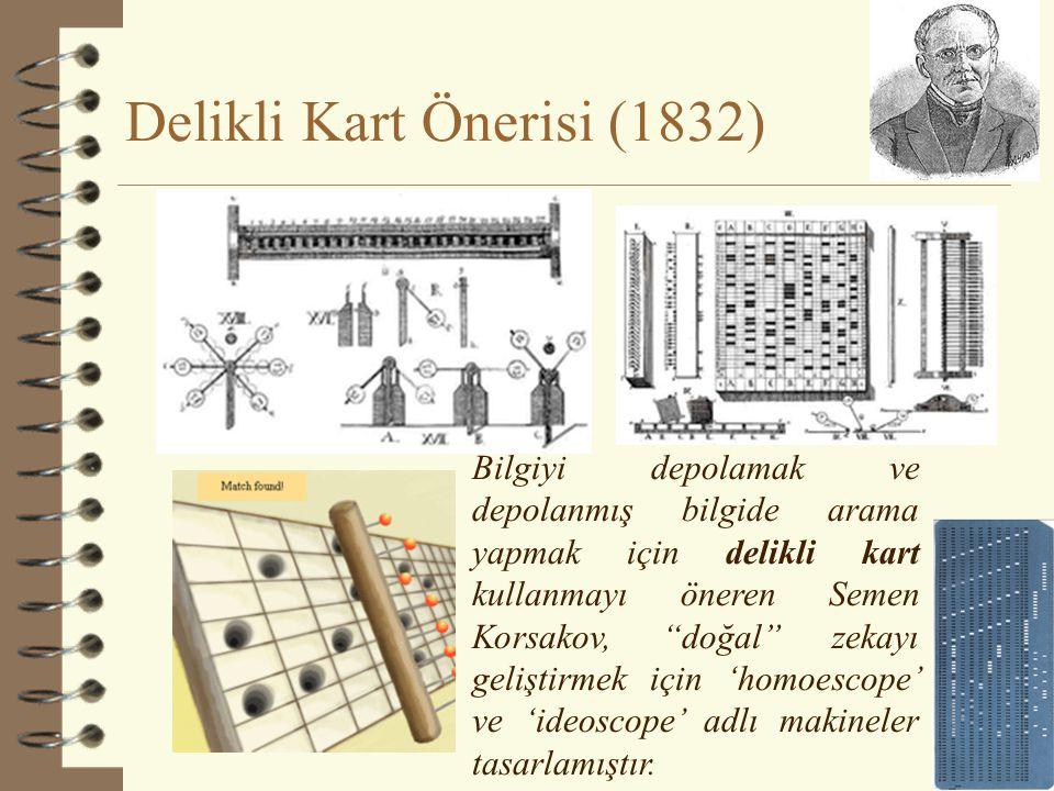 Delikli Kart Önerisi (1832) 26 Bilgiyi depolamak ve depolanmış bilgide arama yapmak için delikli kart kullanmayı öneren Semen Korsakov, doğal zekayı geliştirmek için 'homoescope' ve 'ideoscope' adlı makineler tasarlamıştır.