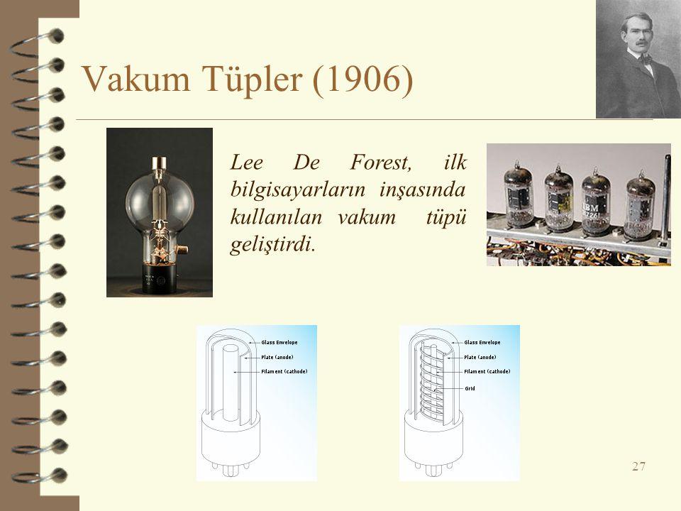 Vakum Tüpler (1906) 27 Lee De Forest, ilk bilgisayarların inşasında kullanılan vakum tüpü geliştirdi.