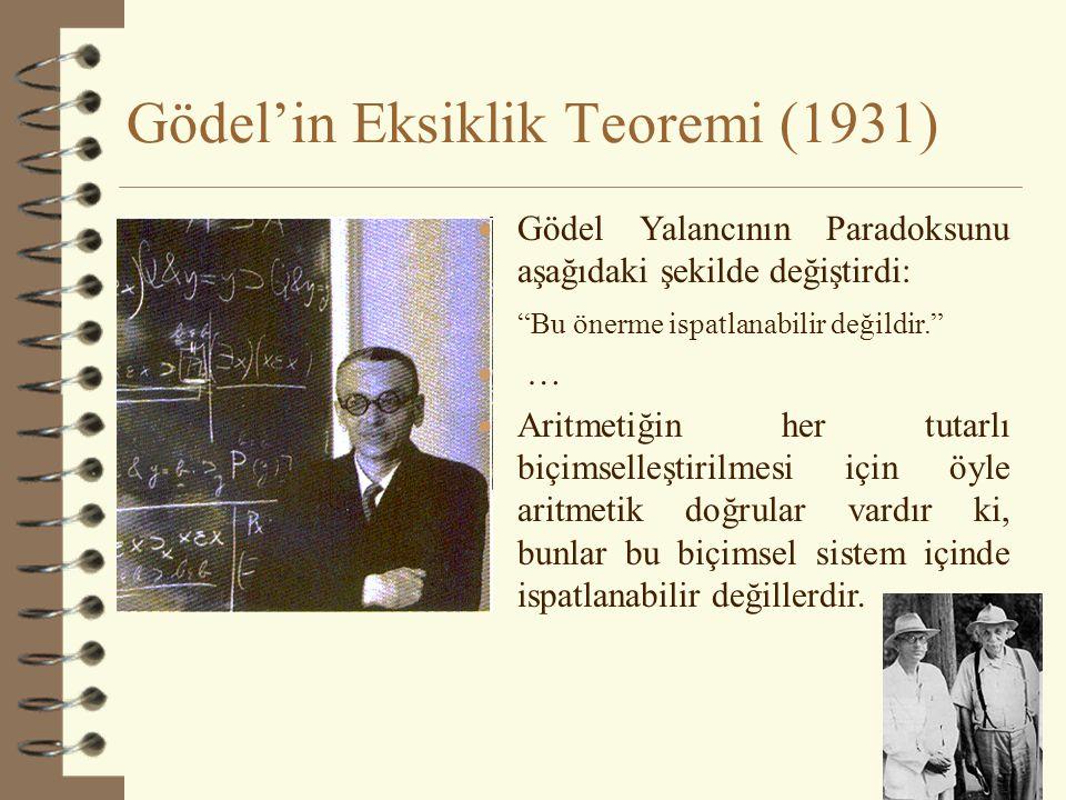 Gödel'in Eksiklik Teoremi (1931) 31  Gödel Yalancının Paradoksunu aşağıdaki şekilde değiştirdi: Bu önerme ispatlanabilir değildir.  …  Aritmetiğin her tutarlı biçimselleştirilmesi için öyle aritmetik doğrular vardır ki, bunlar bu biçimsel sistem içinde ispatlanabilir değillerdir.