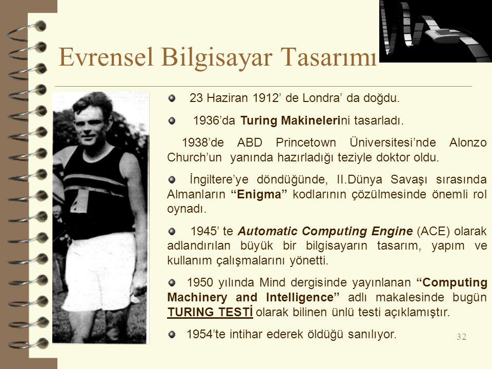 Evrensel Bilgisayar Tasarımı 32 23 Haziran 1912' de Londra' da doğdu.