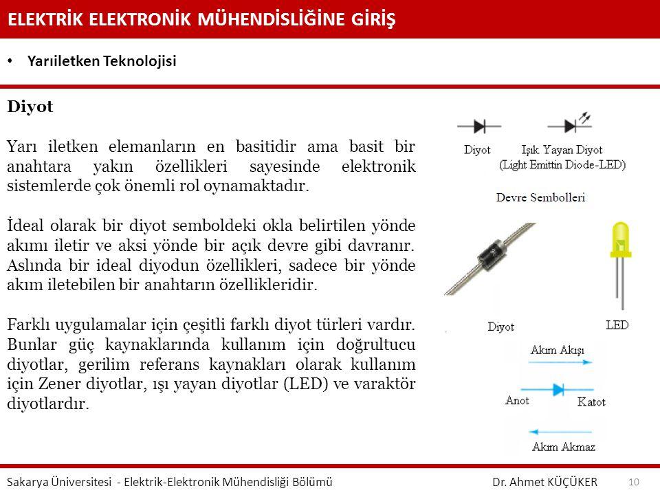 ELEKTRİK ELEKTRONİK MÜHENDİSLİĞİNE GİRİŞ Dr. Ahmet KÜÇÜKER Sakarya Üniversitesi - Elektrik-Elektronik Mühendisliği Bölümü 10 Yarıiletken Teknolojisi D
