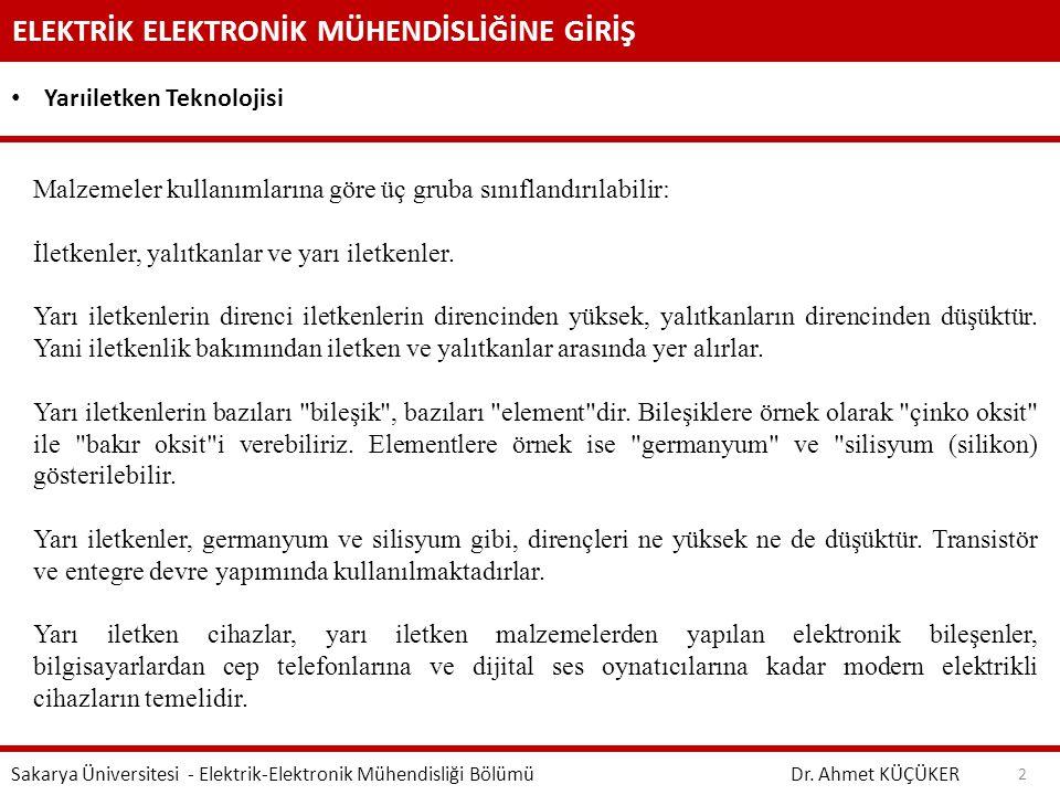 ELEKTRİK ELEKTRONİK MÜHENDİSLİĞİNE GİRİŞ Dr.