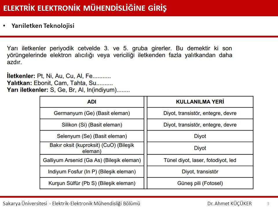ELEKTRİK ELEKTRONİK MÜHENDİSLİĞİNE GİRİŞ Dr. Ahmet KÜÇÜKER Sakarya Üniversitesi - Elektrik-Elektronik Mühendisliği Bölümü 3 Yarıiletken Teknolojisi