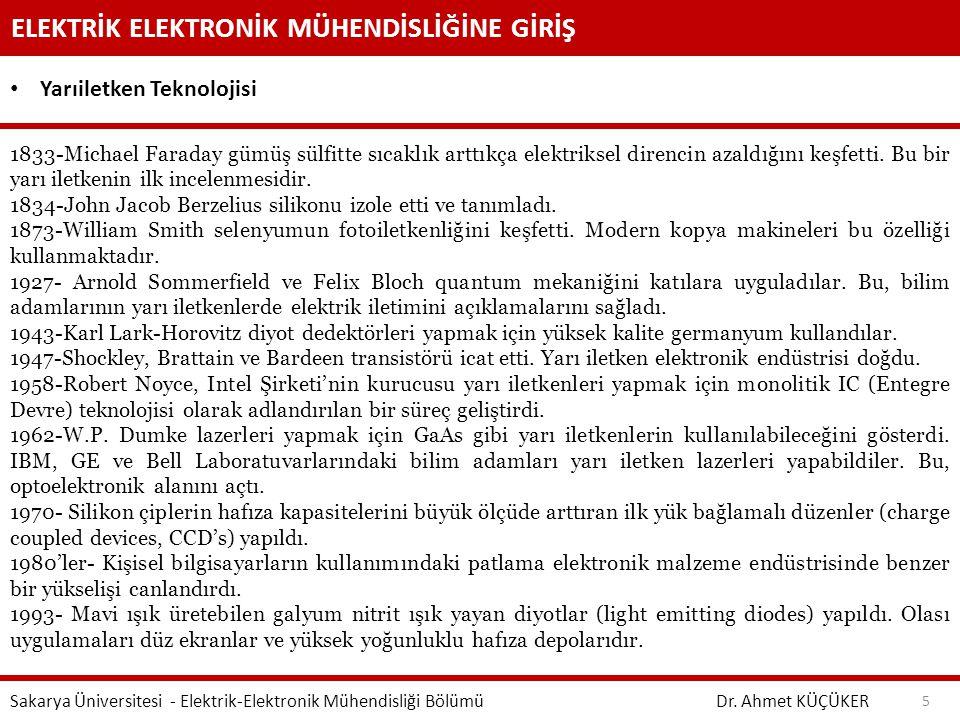ELEKTRİK ELEKTRONİK MÜHENDİSLİĞİNE GİRİŞ Dr. Ahmet KÜÇÜKER Sakarya Üniversitesi - Elektrik-Elektronik Mühendisliği Bölümü 5 Yarıiletken Teknolojisi 18
