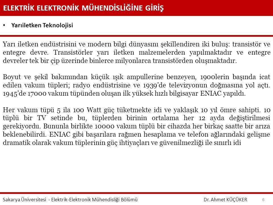 ELEKTRİK ELEKTRONİK MÜHENDİSLİĞİNE GİRİŞ Dr. Ahmet KÜÇÜKER Sakarya Üniversitesi - Elektrik-Elektronik Mühendisliği Bölümü 6 Yarıiletken Teknolojisi Ya