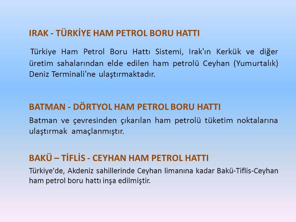 IRAK - TÜRKİYE HAM PETROL BORU HATTI Türkiye Ham Petrol Boru Hattı Sistemi, Irak'ın Kerkük ve diğer üretim sahalarından elde edilen ham petrolü Ceyhan