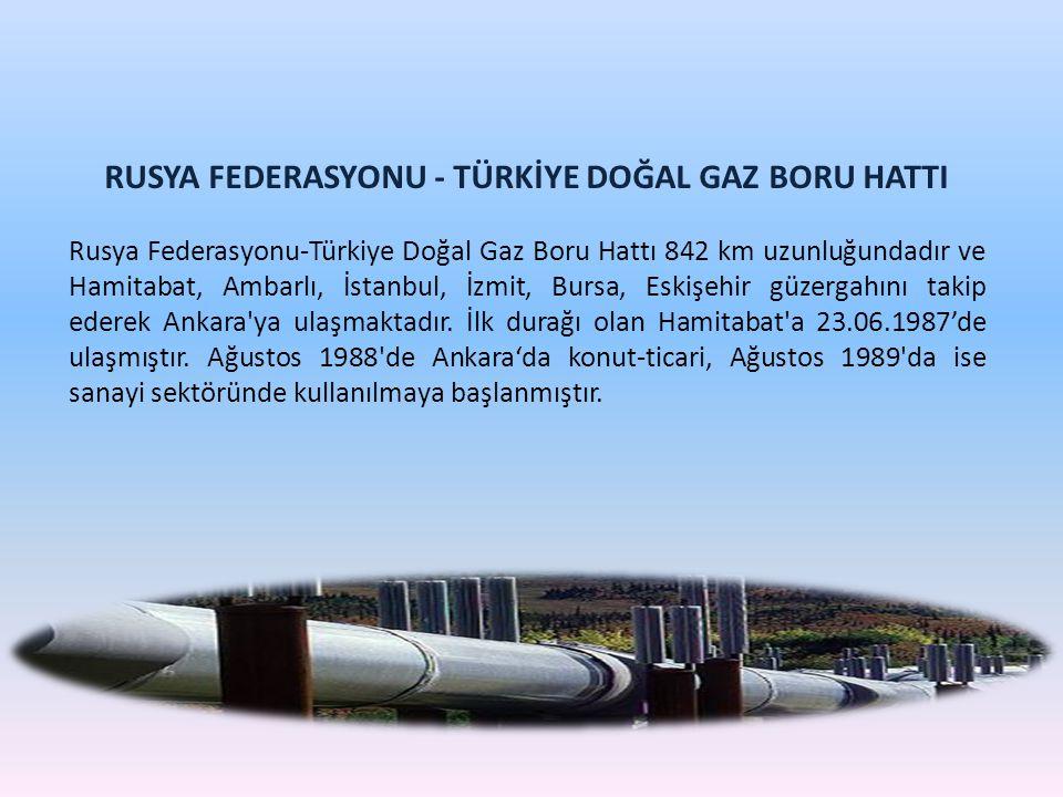 RUSYA FEDERASYONU - TÜRKİYE DOĞAL GAZ BORU HATTI Rusya Federasyonu-Türkiye Doğal Gaz Boru Hattı 842 km uzunluğundadır ve Hamitabat, Ambarlı, İstanbul,