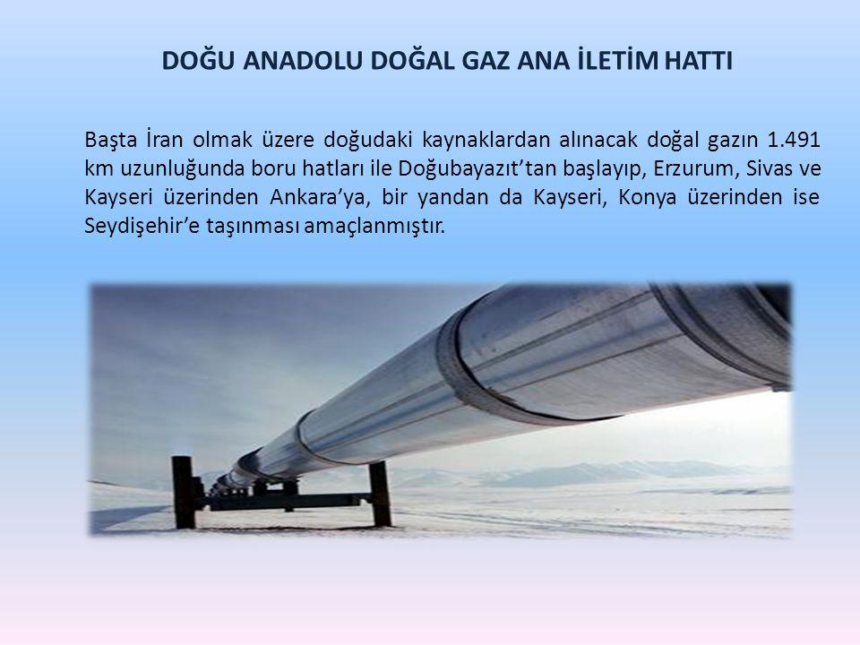 DOĞU ANADOLU DOĞAL GAZ ANA İLETİM HATTI Başta İran olmak üzere doğudaki kaynaklardan alınacak doğal gazın 1.491 km uzunluğunda boru hatları ile Doğuba