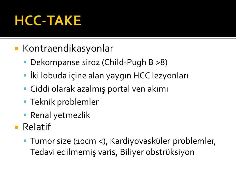 Kontraendikasyonlar  Dekompanse siroz (Child-Pugh B >8)  İki lobuda içine alan yaygın HCC lezyonları  Ciddi olarak azalmış portal ven akımı  Teknik problemler  Renal yetmezlik  Relatif  Tumor size (10cm <), Kardiyovasküler problemler, Tedavi edilmemiş varis, Biliyer obstrüksiyon