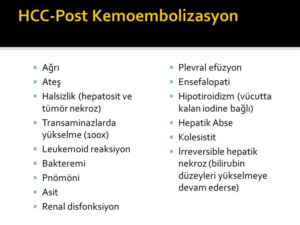  Ağrı  Ateş  Halsizlik (hepatosit ve tümör nekroz)  Transaminazlarda yükselme (100x)  Leukemoid reaksiyon  Bakteremi  Pnömöni  Asit  Renal disfonksiyon  Plevral efüzyon  Ensefalopati  Hipotiroidizm (vücutta kalan iodine bağlı)  Hepatik Abse  Kolesistit  İrreversible hepatik nekroz (bilirubin düzeyleri yükselmeye devam ederse)