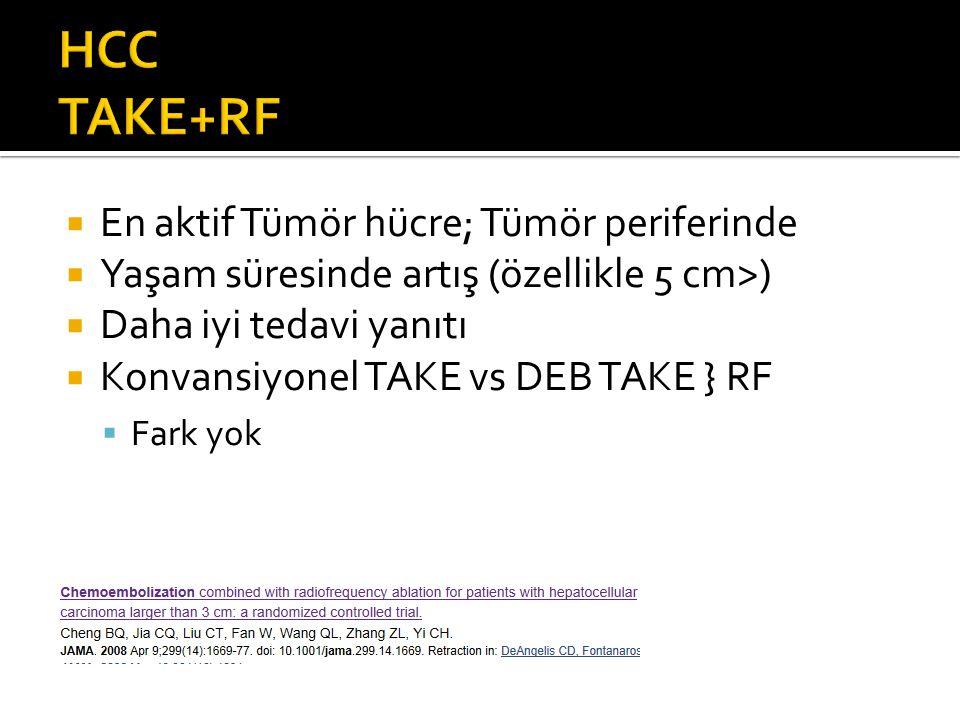  En aktif Tümör hücre; Tümör periferinde  Yaşam süresinde artış (özellikle 5 cm>)  Daha iyi tedavi yanıtı  Konvansiyonel TAKE vs DEB TAKE } RF  Fark yok