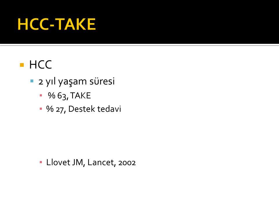  HCC  2 yıl yaşam süresi ▪ % 63, TAKE ▪ % 27, Destek tedavi ▪ Llovet JM, Lancet, 2002