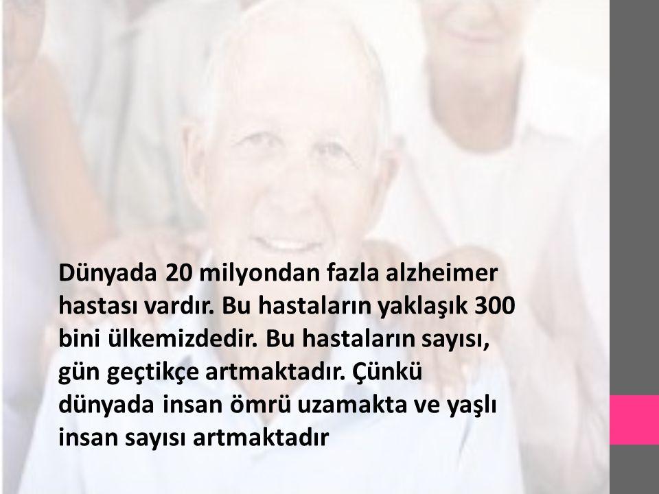 Dünyada 20 milyondan fazla alzheimer hastası vardır. Bu hastaların yaklaşık 300 bini ülkemizdedir. Bu hastaların sayısı, gün geçtikçe artmaktadır. Çün