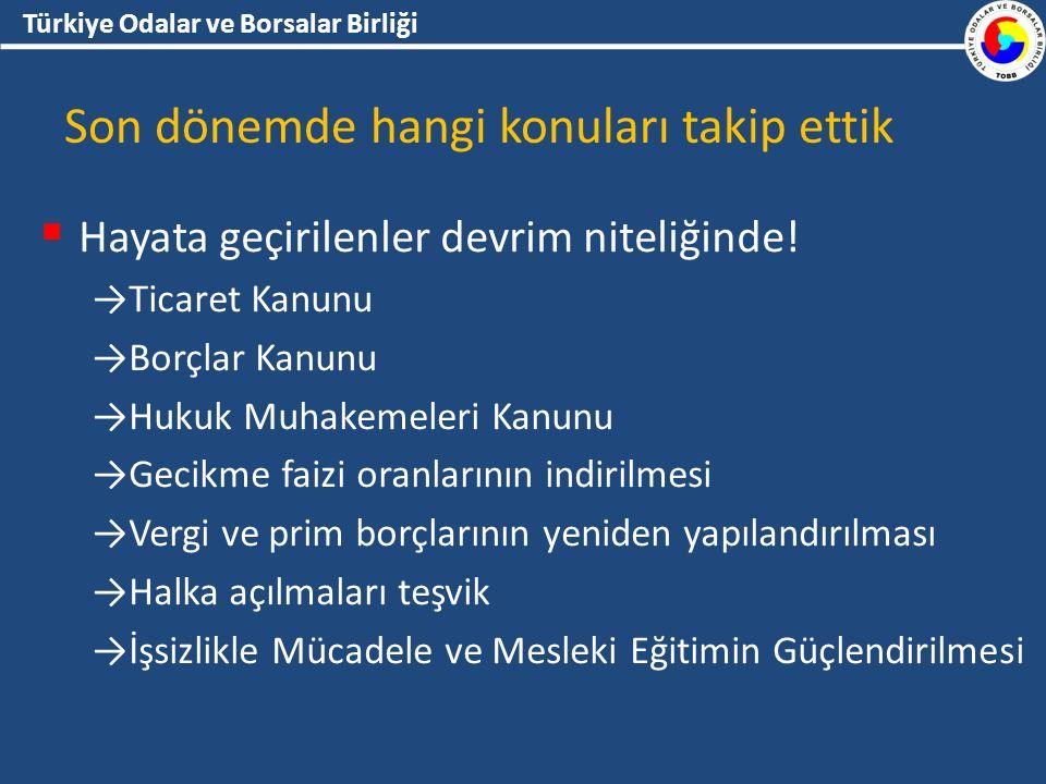 Türkiye Odalar ve Borsalar Birliği Son dönemde hangi konuları takip ettik  Hayata geçirilenler devrim niteliğinde.