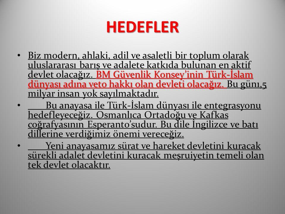 HEDEFLER BM Güvenlik Konsey'inin Türk-İslam dünyası adına veto hakkı olan devleti olacağız. Biz modern, ahlaki, adil ve asaletli bir toplum olarak ulu