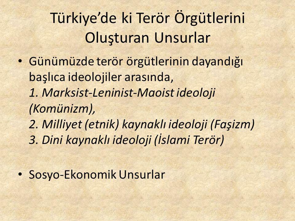 Türkiye'de ki Terör Örgütlerini Oluşturan Unsurlar Günümüzde terör örgütlerinin dayandığı başlıca ideolojiler arasında, 1.