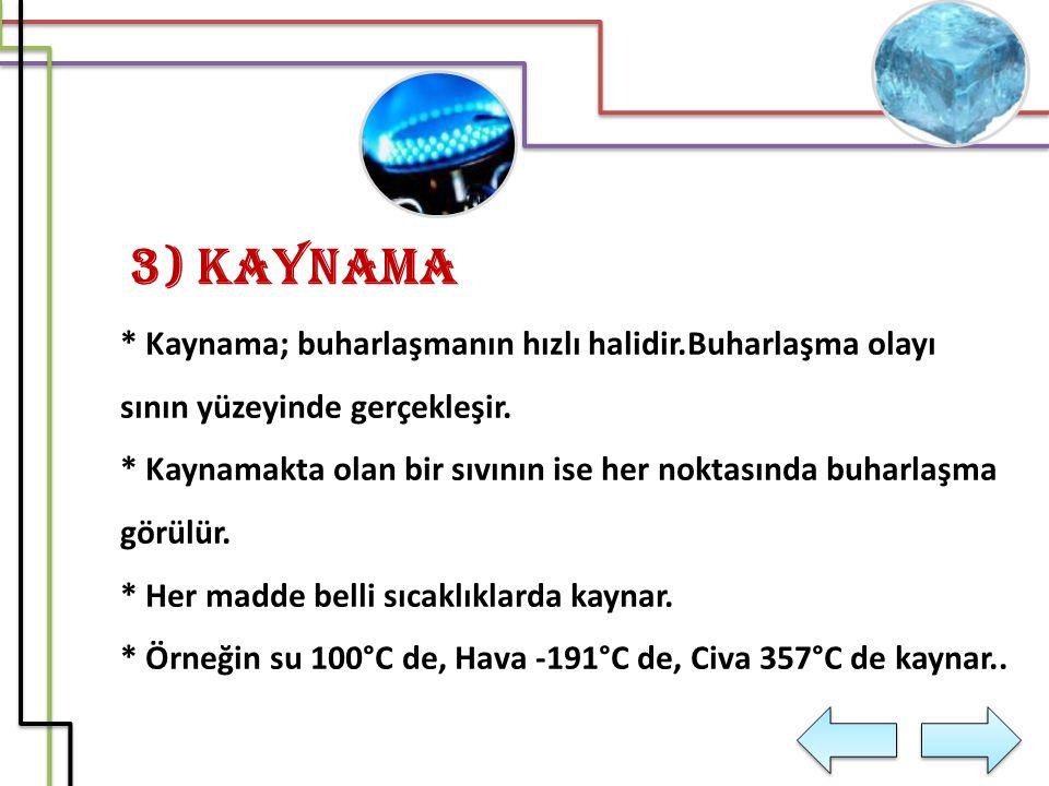 3) Kaynama * Kaynama; buharlaşmanın hızlı halidir.Buharlaşma olayı sının yüzeyinde gerçekleşir. * Kaynamakta olan bir sıvının ise her noktasında buhar