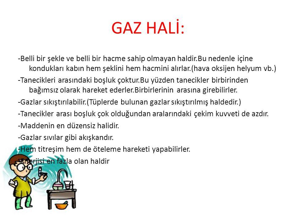 GAZ HALİ: -Belli bir şekle ve belli bir hacme sahip olmayan haldir.Bu nedenle içine kondukları kabın hem şeklini hem hacmini alırlar.(hava oksijen hel