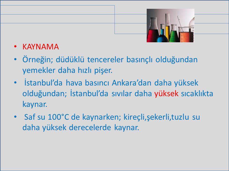 KAYNAMA Örneğin; düdüklü tencereler basınçlı olduğundan yemekler daha hızlı pişer. İstanbul'da hava basıncı Ankara'dan daha yüksek olduğundan; İstanbu