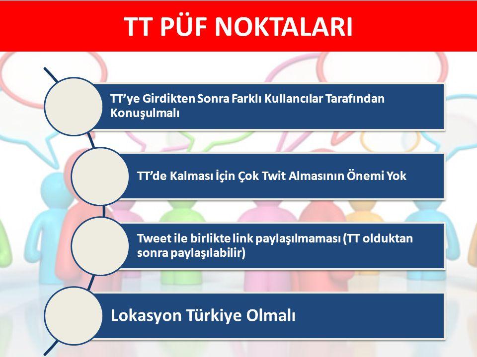 TT PÜF NOKTALARI TT'ye Girdikten Sonra Farklı Kullancılar Tarafından Konuşulmalı TT'de Kalması İçin Çok Twit Almasının Önemi Yok Tweet ile birlikte li