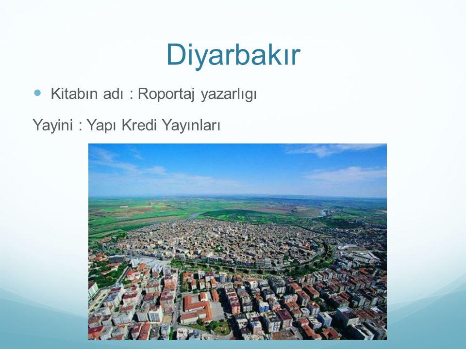 Diyarbakır Kitabın adı : Roportaj yazarlıgı Yayini : Yapı Kredi Yayınları