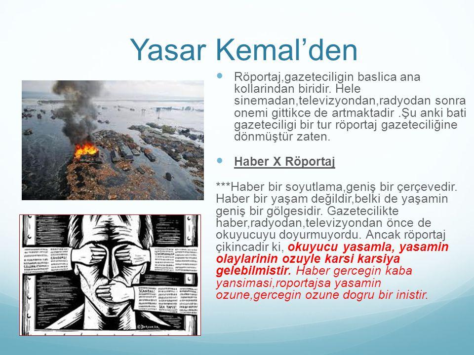 Yasar Kemal'den Röportaj,gazeteciligin baslica ana kollarindan biridir. Hele sinemadan,televizyondan,radyodan sonra onemi gittikce de artmaktadir.Şu a