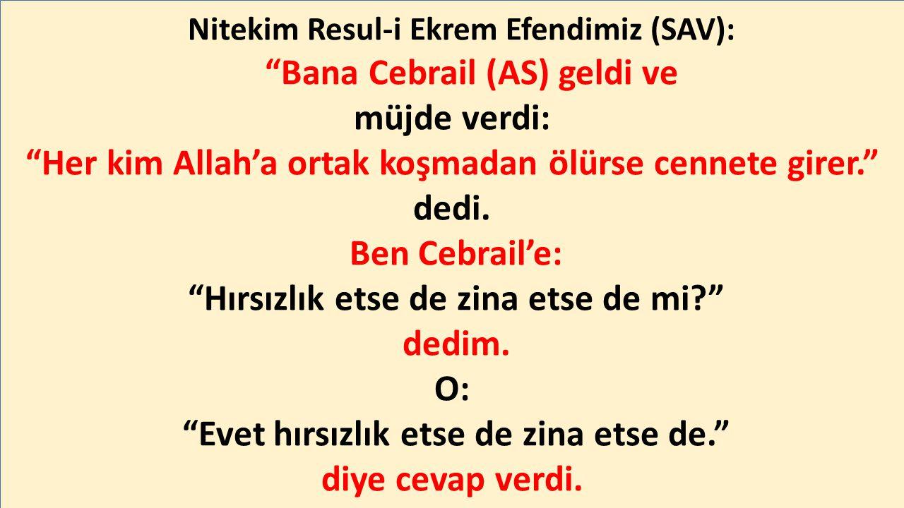 Nitekim Resul-i Ekrem Efendimiz (SAV): Bana Cebrail (AS) geldi ve müjde verdi: Her kim Allah'a ortak koşmadan ölürse cennete girer. dedi.