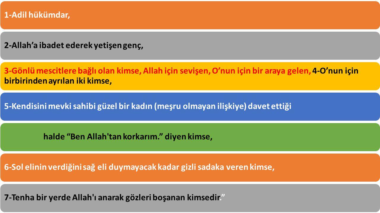 1-Adil hükümdar,2-Allah'a ibadet ederek yetişen genç, 3-Gönlü mescitlere bağlı olan kimse, Allah için sevişen, O'nun için bir araya gelen, 4-O'nun için birbirinden ayrılan iki kimse, 5-Kendisini mevki sahibi güzel bir kadın (meşru olmayan ilişkiye) davet ettiği halde Ben Allah tan korkarım. diyen kimse,6-Sol elinin verdiğini sağ eli duymayacak kadar gizli sadaka veren kimse,7-Tenha bir yerde Allah ı anarak gözleri boşanan kimsedir.