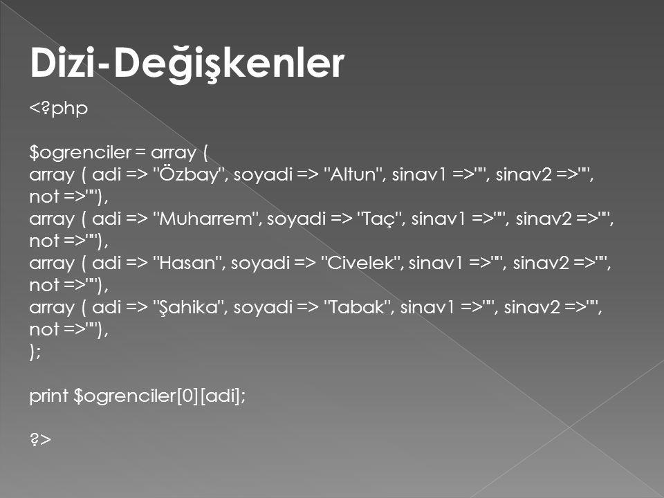 Dizi-Değişkenler <?php $ogrenciler = array ( array ( adi => Özbay , soyadi => Altun , sinav1 => , sinav2 => , not => ), array ( adi => Muharrem , soyadi => Taç , sinav1 => , sinav2 => , not => ), array ( adi => Hasan , soyadi => Civelek , sinav1 => , sinav2 => , not => ), array ( adi => Şahika , soyadi => Tabak , sinav1 => , sinav2 => , not => ), ); print $ogrenciler[0][adi]; ?>