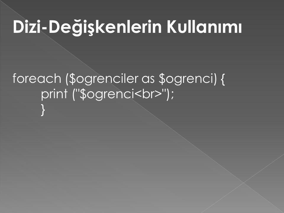 Dizi-Değişkenlerin Kullanımı foreach ($ogrenciler as $ogrenci) { print ( $ogrenci ); }