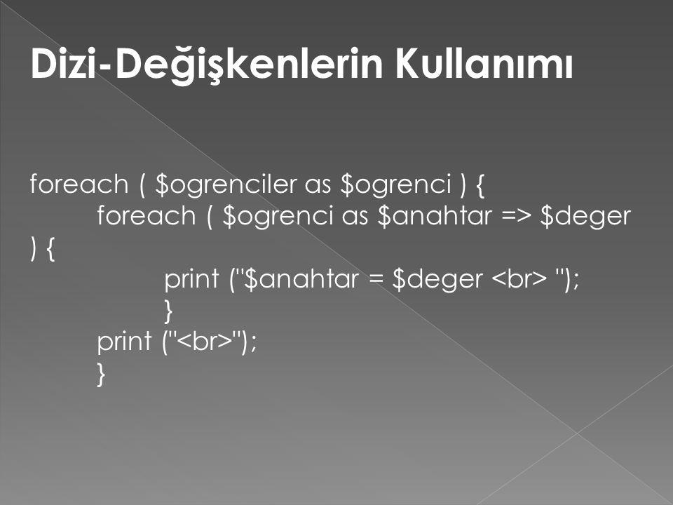 Dizi-Değişkenlerin Kullanımı foreach ( $ogrenciler as $ogrenci ) { foreach ( $ogrenci as $anahtar => $deger ) { print ( $anahtar = $deger ); } print ( ); }