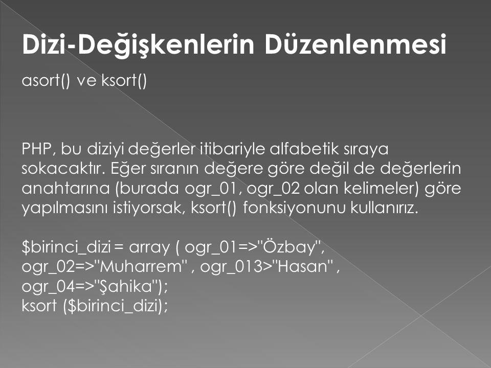 Dizi-Değişkenlerin Düzenlenmesi asort() ve ksort() PHP, bu diziyi değerler itibariyle alfabetik sıraya sokacaktır. Eğer sıranın değere göre değil de d